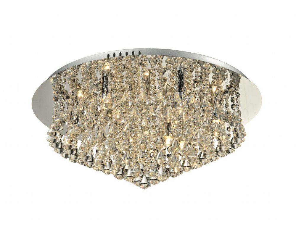 Chloe 9-light Flush Ceiling Fitting, Polished Chrome with Diamond shaped Crystals (036773)